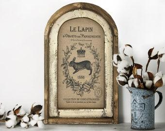 "Rabbit Wall Decor | 14"" x 22"" | Arch Window Frame | Linen Wall Hanging | French Farmhouse Decor |"