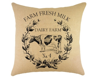 Cow Pillow, Farm Fresh Milk, French Farmhouse Throw Pillow, Shabby Cottage, Crest