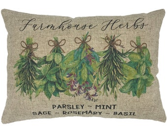 Herbs Throw Pillow, Modern Farmhouse Linen Lumbar Pillow