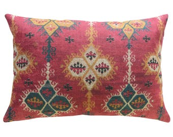 Global Throw Pillow, Linen Lumbar Pillow, Kilim