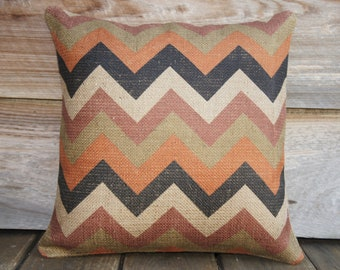 MadMen Chevron Pillow Cover, Burlap, Feed Sack, Industrial, Decorative Throw Pillow, Zig Zag, Designer Pillow, Orange Black Beige 16x16