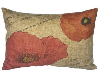 French Floral Throw Pillow, Linen Lumbar Pillow, Cottage