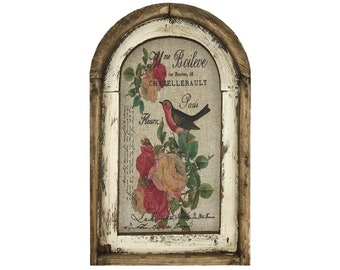 "Birds with Roses Wall Art | Arch Window Frame | Linen Wall Hanging | French Farmhouse Decor | 14"" x 22"""