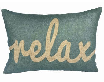 Relax Throw Pillow, Blue Typography, Linen Lumbar Pillow
