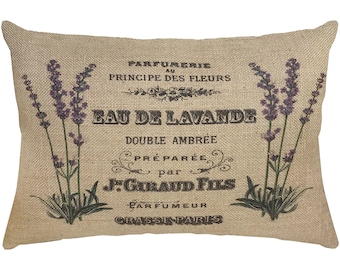 Lavender Pillow, Burlap Pillow, French Country Lumbar Pillow, Country Farmhouse, 18x12