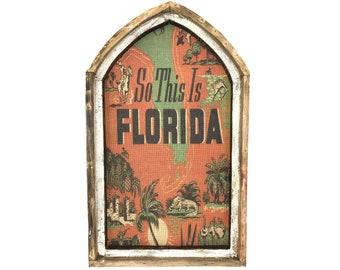 "Florida Wall Art | Arch Window Frame | Burlap Wall Hanging | Coastal Decor | 18"" x 30"""