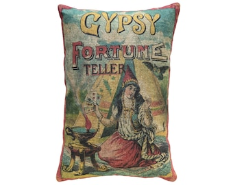 Gypsy Throw Pillow, Linen Lumbar Pillow, Fortune Teller