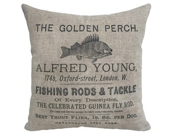 "Fishing Rods & Tackle Linen Throw Pillow 15"" x 15"""