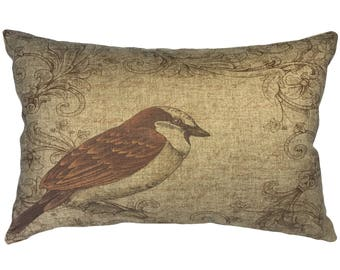 Decorative Bird Throw Pillow, Rustic Linen Lumbar Pillow, Cottage