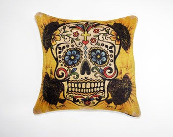 Sugar Skull Pillow Cover, Sunflowers, Throw Pillow, Halloween Decoration, Day of the Dead, Día de los Muertos,
