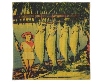 Tarpon Fishing Burlap Fabric, Printed Fabric Panel for Upholstery and Framing