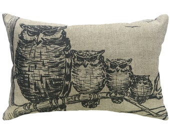 Owl Family Throw Pillow, Woodlands Linen Lumbar Pillow, Industrial