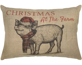 Christmas Burlap Pillow, Farmhouse Pig Lumbar Pillow, Country Farmhouse, 18x12