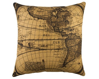 Burlap Map Pillow, Industrial Map Decor