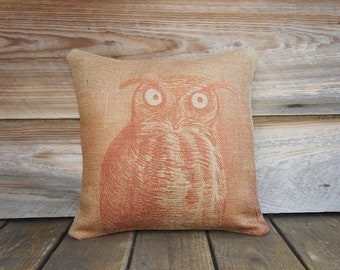 Orange Owl Pillow, Burlap Throw Pillow, Decorative Pillow, Fall, Cottage Chic, Rustic, Farmhouse