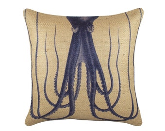 Burlap Octopus Pillow, Nautical Cushion, Beige, Navy, Coastal Decor, Beach House