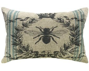Bee Grainsack Throw Pillow, Shabby Chic Linen Lumbar Pillow, French