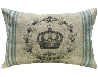 Crown Grainsack Throw Pillow, Shabby Chic Linen Lumbar Pillow, French