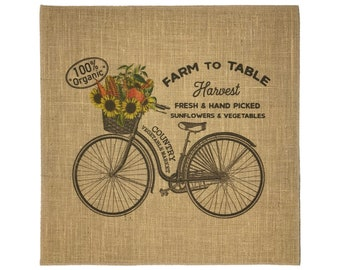 Bike Burlap Fabric, Printed Fabric Panel for Upholstery and Framing