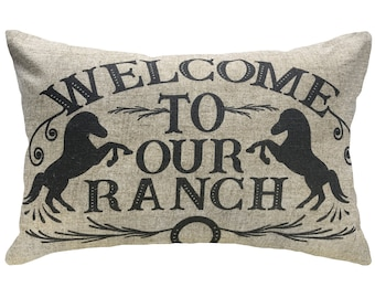 Welcome to our Ranch Throw Pillow, Linen Lumbar Pillow