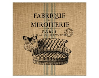 French Grain Sack Burlap Panel, Reproduction Printed Fabric