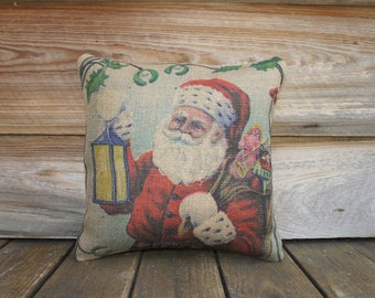 Santa Pillow, Christmas Throw Pillow, Cottage Decor, Burlap Pillow, Decorative, Blue, Red