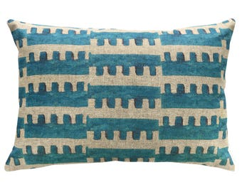 Striped Geometric Throw Pillow, Linen Lumbar Pillow, Worldly