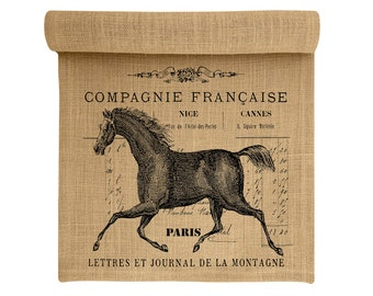 Burlap Table Runner, Horse Burlap Runner, French Table Linens, TheWatsonShop