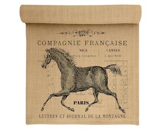 Burlap Table Runner, Horse Burlap Runner, French Table Linens, TheWatsonShop