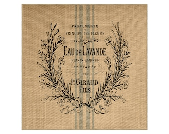Lavender Grainsack Burlap Panel, Reproduction Printed Fabric