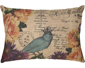 French Flowers Burlap Pillow, French Script, Blue Bird, Farmhouse, 18x12