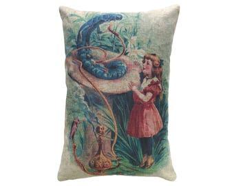 Alice In Wonderland Throw Pillow, Linen Lumbar Pillow