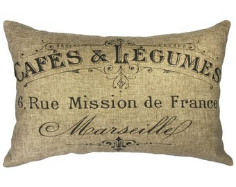 French Typography Throw Pillow, Rustic Linen Lumbar Pillow