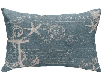 Nautical Anchor Throw Pillow, Blue Typography, Linen Lumbar Pillow