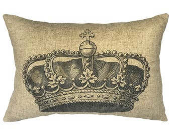 Crown Throw Pillow, Rustic Linen Lumbar Pillow, Cottage