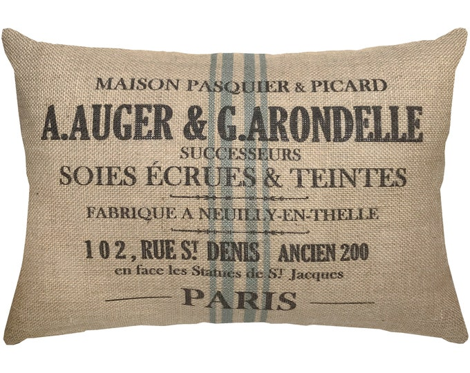 Featured listing image: Burlap Grainsack Pillow, French Lumbar Pillow, French Farmhouse, 18x12