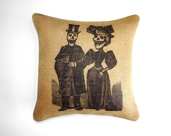 Skeleton Couple Pillow, Burlap Throw Pillow, Decorative Pillow, Fall, Skull, Rustic, Farmhouse