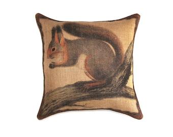 Squirrel Pillow, Burlap Throw Pillow, Decorative, Rustic