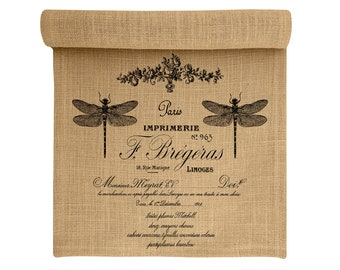 Burlap Table Runner, Dragonfly Burlap Runner, French Table Linens, TheWatsonShop