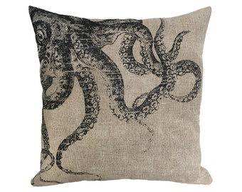 "Black Octopus Linen Throw Pillow 15"" x 15"""