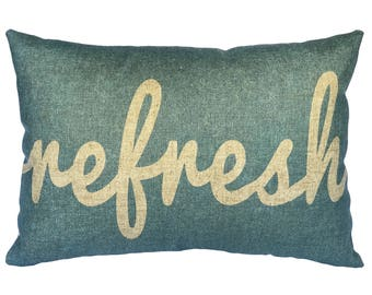 Refresh Throw Pillow, Blue Typography, Linen Lumbar Pillow
