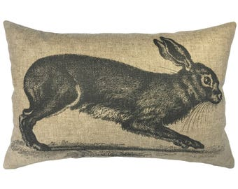 Easter Bunny Throw Pillow, Linen Lumbar Pillow, French