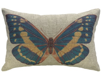 Blue Butterfly Throw Pillow, Linen Lumbar Pillow, Cottage