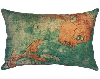 Swimming Koi Throw Pillow, Linen Lumbar Pillow, Coastal