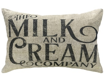 Milk And Cream Throw Pillow, Linen Lumbar Pillow