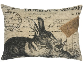 French Rabbit Throw Pillow, Farmhouse Linen Lumbar Pillow
