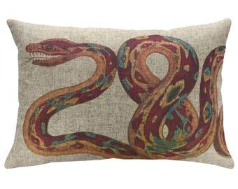 Snake Throw Pillow, Linen Lumbar Pillow