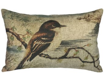 Bird Throw Pillow, Rustic Linen Lumbar Pillow, French
