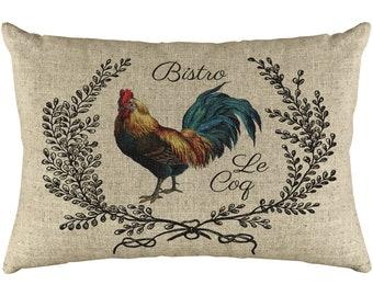 French Chicken Throw Pillow, Rustic Farmhouse, Linen Lumbar Pillow