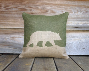 Olive Bear Pillow, Moss Green, Beige, Burlap Throw Pillow, Decorative Pillow, Cottage Chic, Rustic, Farmhouse
